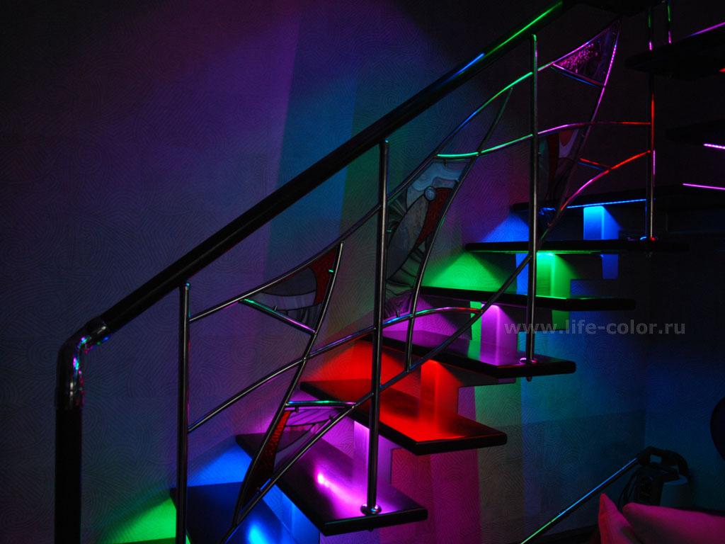 Своими руками светодиодная подсветка лестницы